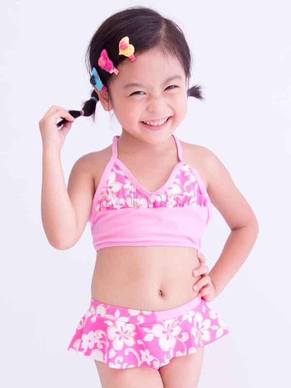 Cute Ruffles Halter Floral Print Girl\'s Bikini - Milanoo.com
