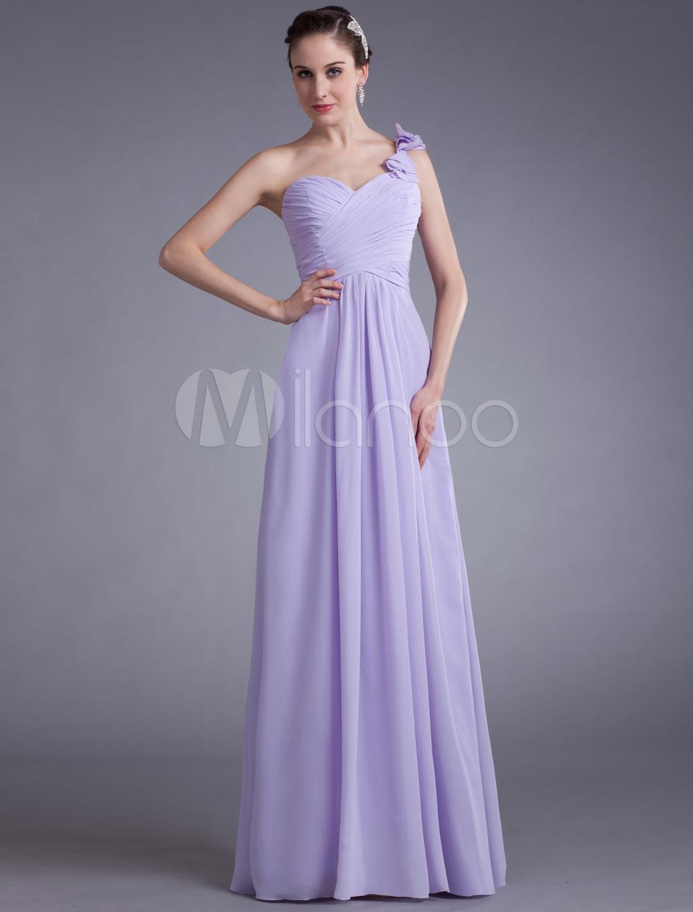 Vestido de damas de honor de chifón de color lila con escote en ...