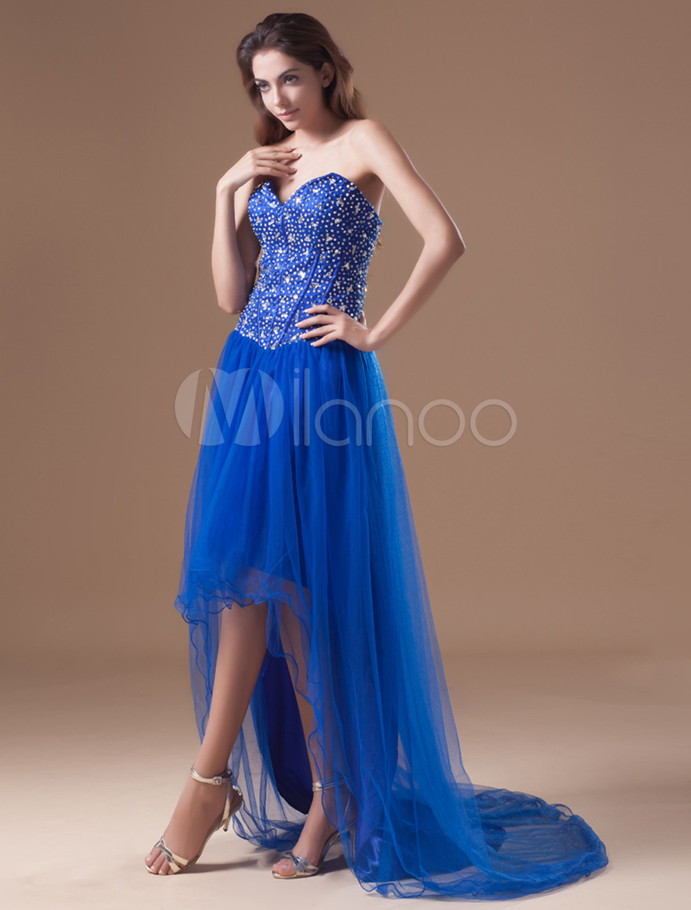 Buy Royal Blue Net Sequin High Low Evening Dress for $119.99 in Milanoo store