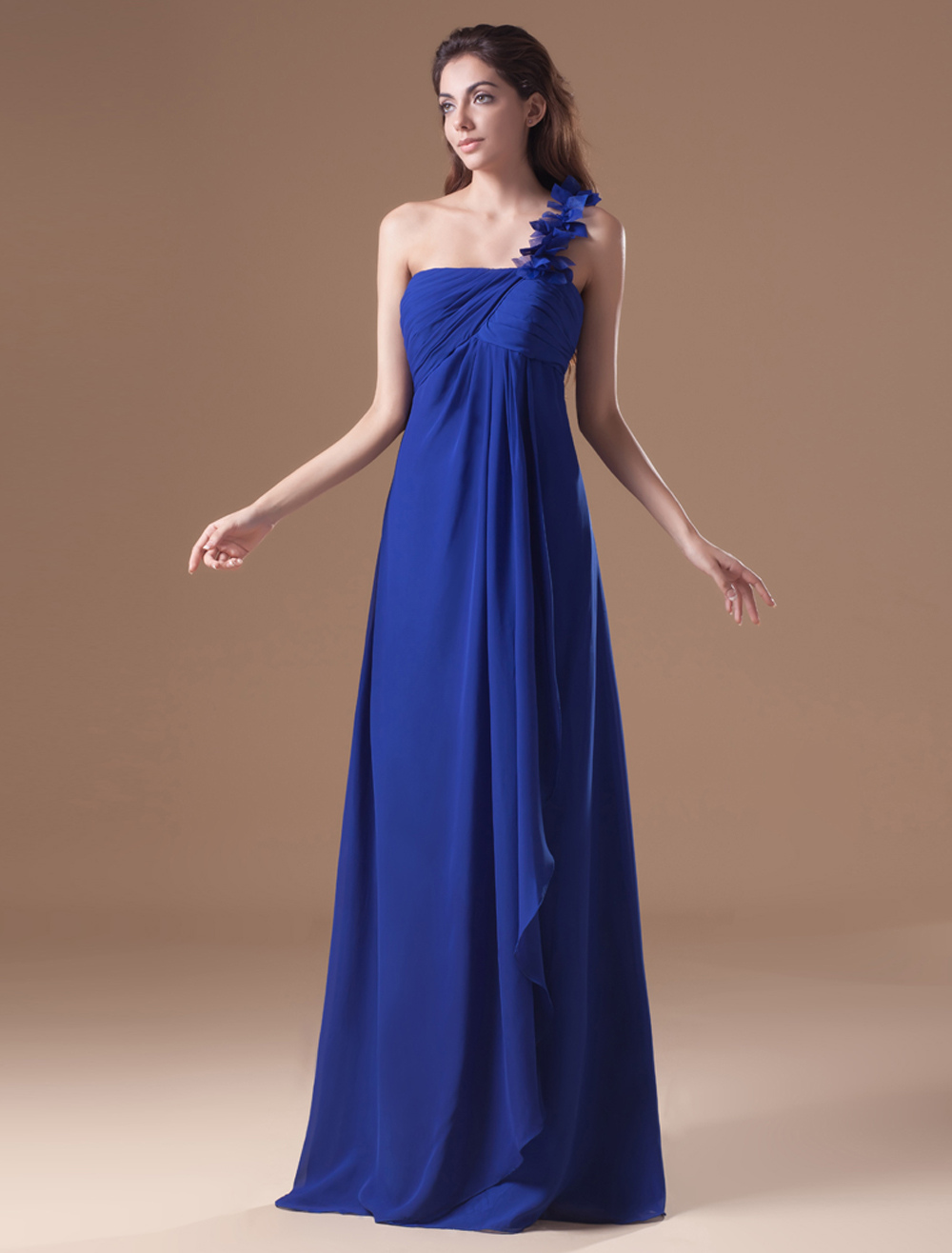 Buy A-line Chiffon Royal Blue Floor-Length Evening Dress with One-Shoulder Cascading Ruffle for $116.99 in Milanoo store