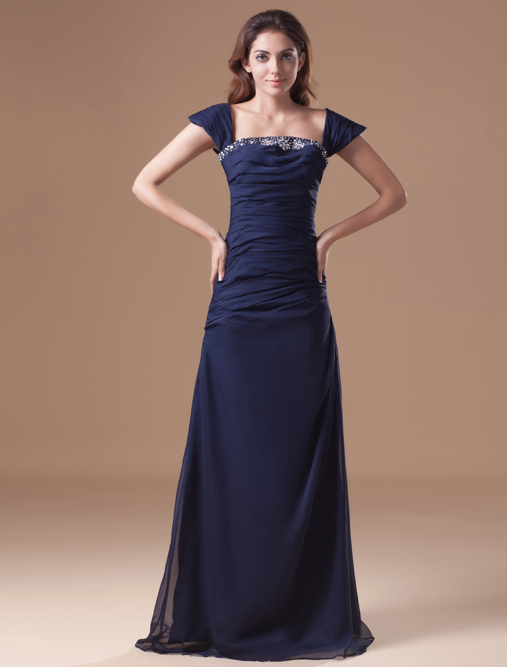 Dark Navy Chiffon Beading Off-The-Shoulder Women's Evening Dress