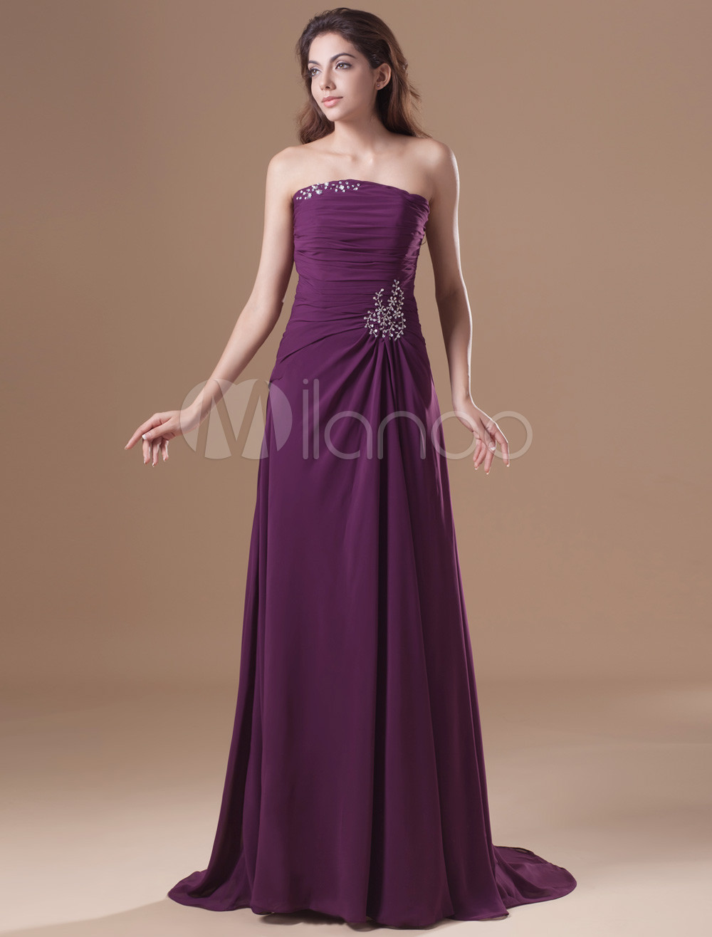 Elegant Grape Chiffon Beading Strapless Women's Evening Dress