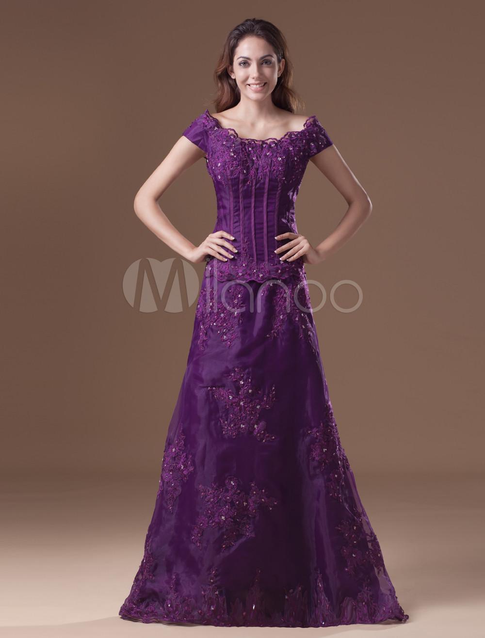 Lavender Evening Dress Organza Off The Shoulder Formal Dress Sleeveless Beading Court Train Occasion Dress