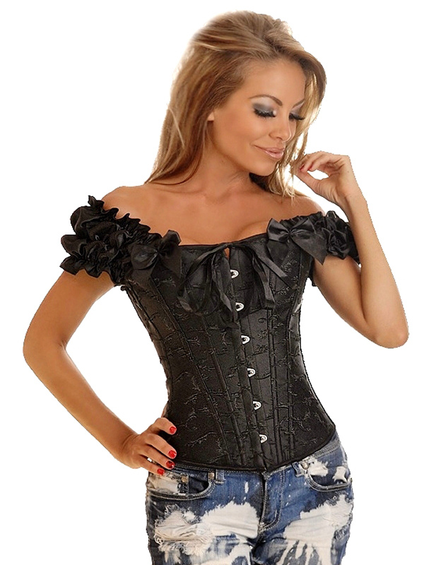 Off The Shoulder Black Bow Jacquard Corsets