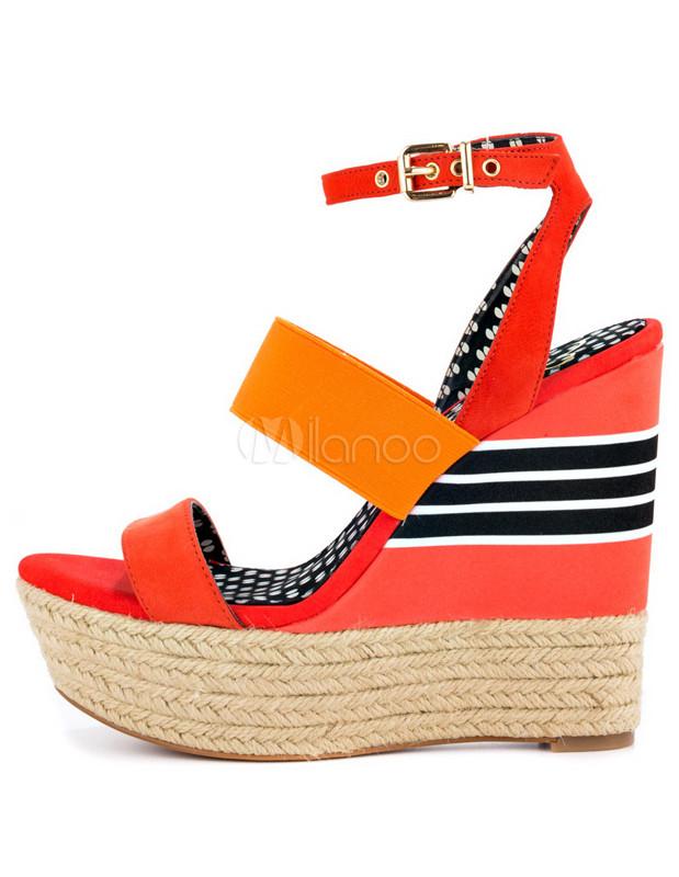Et Bracelet Chaussures À Talons Détail Avec Style Attrayantes Couleur Compensés De Multi Bohème Fluo CBexorWd