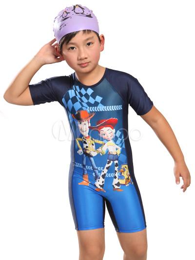 761e74500 Traje de baño del niño – poliéster impresión dulce azul dibujos animados  personajes-No.