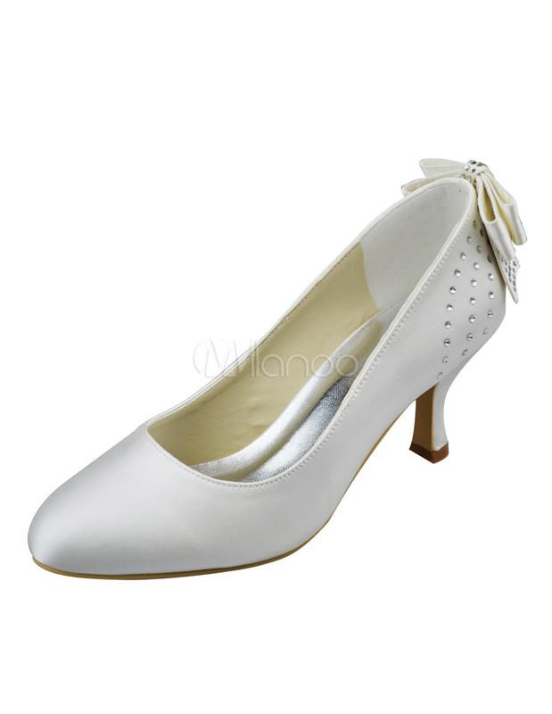 Buy Elegant Round Toe Ivory Satin Kitten Heel Bride's Shoes for $71.24 in Milanoo store