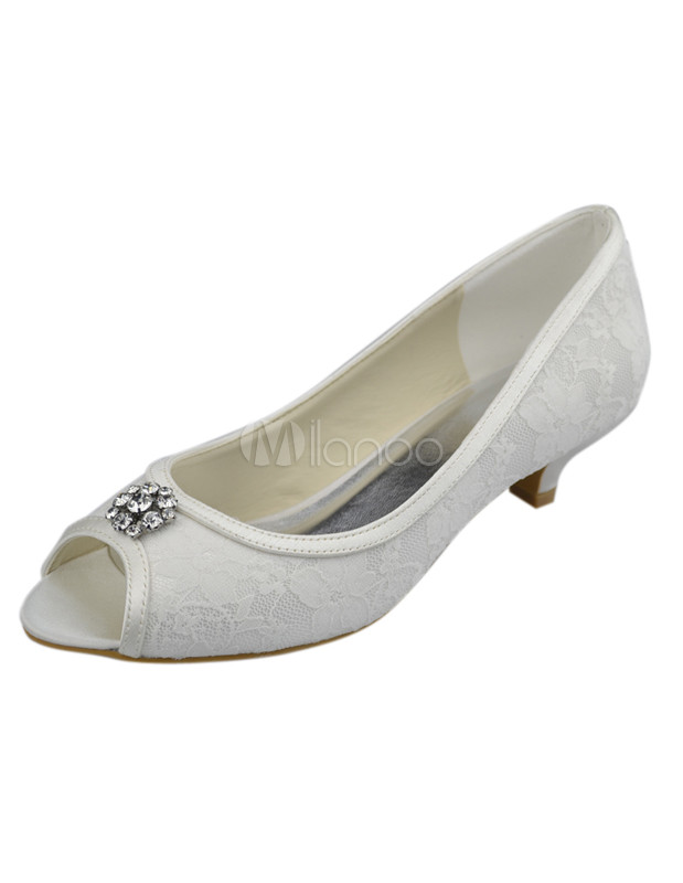 Cute Peep Toe Ivory Lace Kitten Heel Bride's Shoes-No. ...