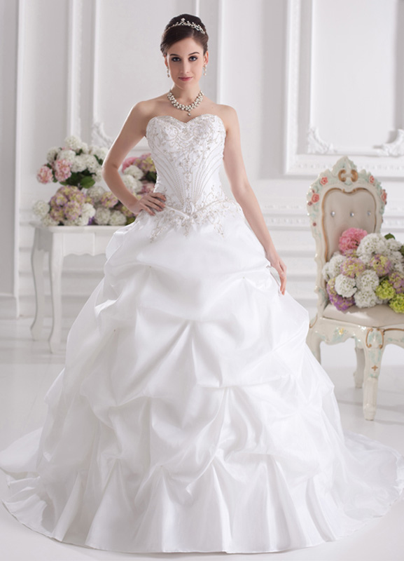 White Ball Gown Strapless Embroidered Taffeta Bridal Wedding Dress