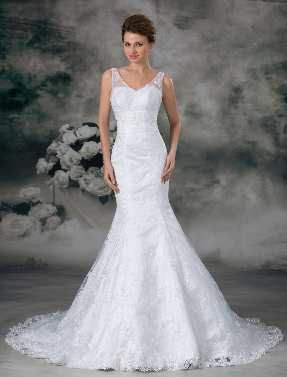 White Mermaid Off-The-Shoulder Lace Wedding Dress For Bride