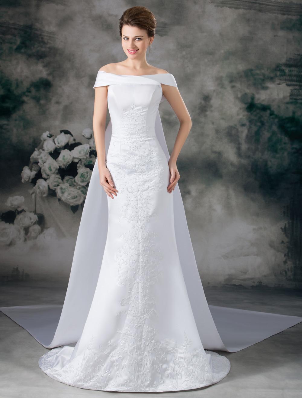 White Sheath Off-The-Shoulder Beading Satin Bridal Wedding Gown