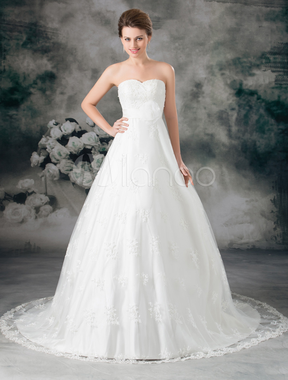 Ivory Ball Gown Sweetheart Neck Flower Lace Wedding Dress For Bride ...
