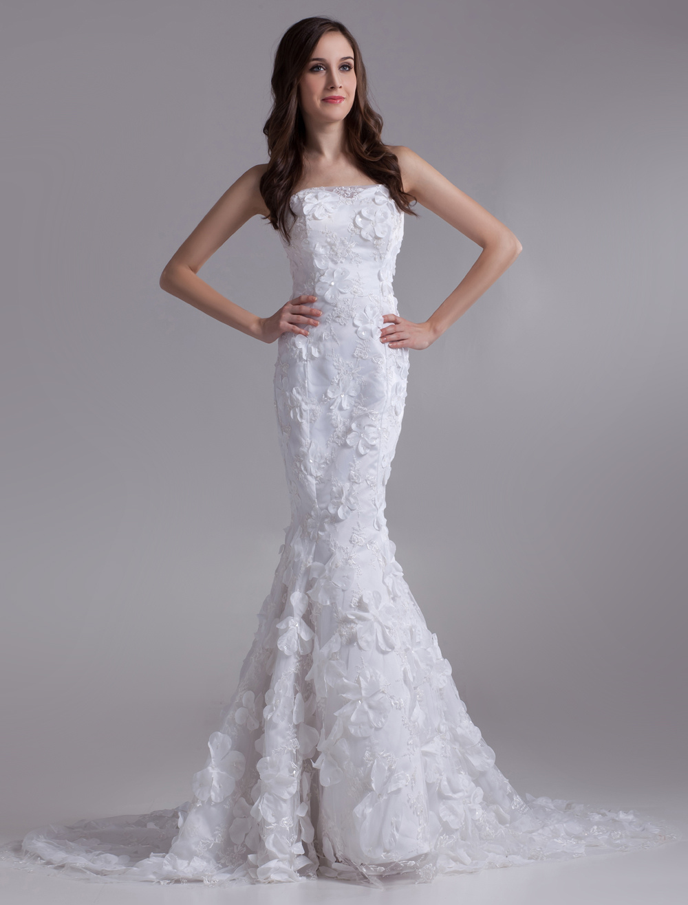 Beautiful White Mermaid Strapless Beading Lace Bridal Wedding Dress