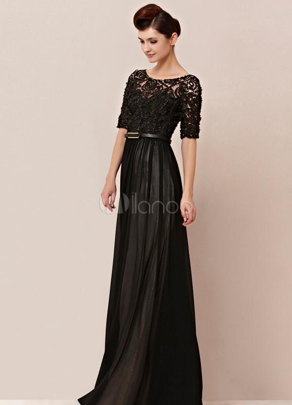 Vestidos elegantes de noche largos color negro