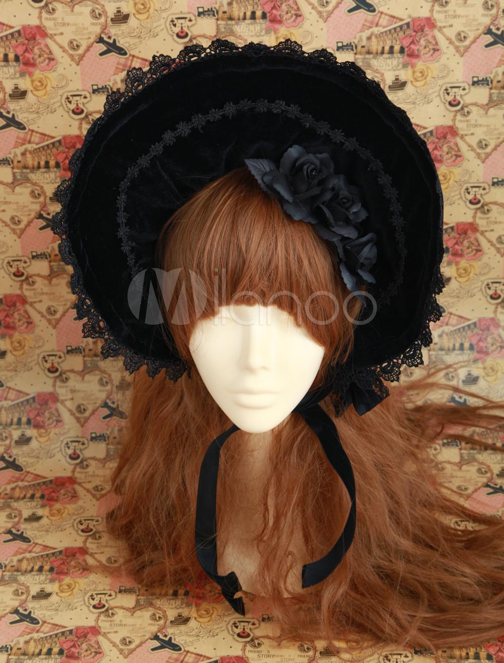 Gothic Black Velour Stylish Lolita Hat