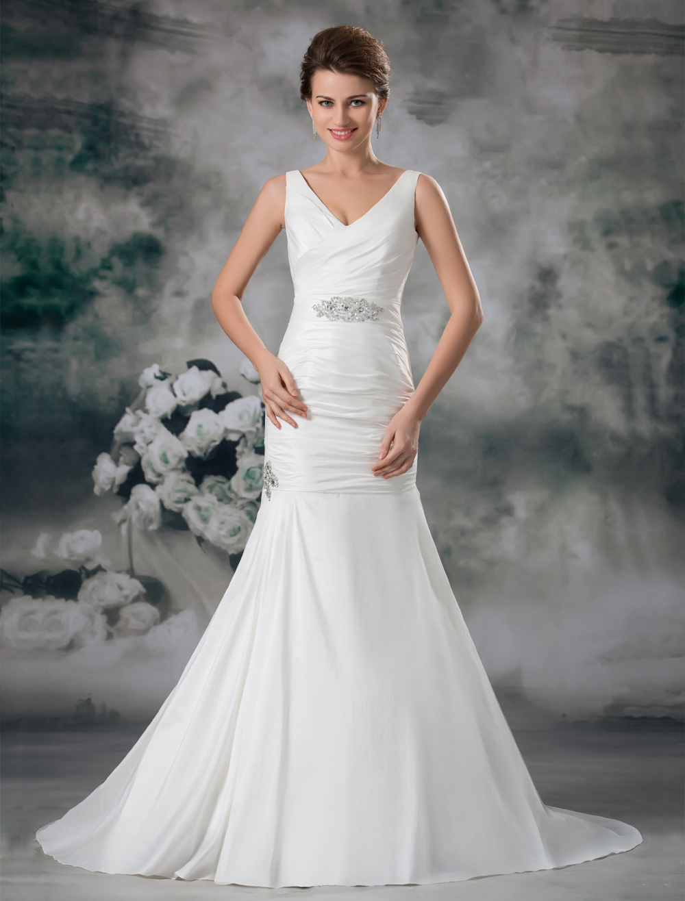 Ivory Beading Taffeta V-Neck Off-The-Shoulder Mermaid Wedding Dress