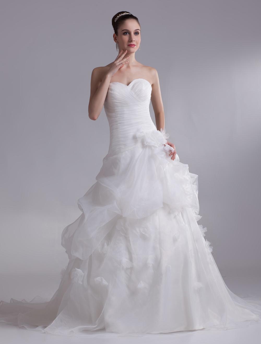 Ivory Sweetheart Neck Flower Organza Bride's Wedding Dress