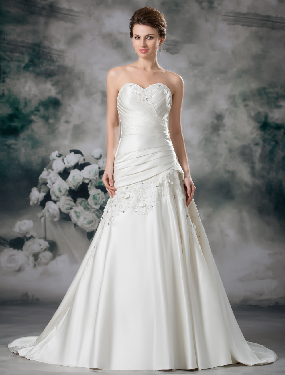 Buy Chic Ivory A-line Sweetheart Neck Beading Satin Bridal Wedding Dress for $249.99 in Milanoo store