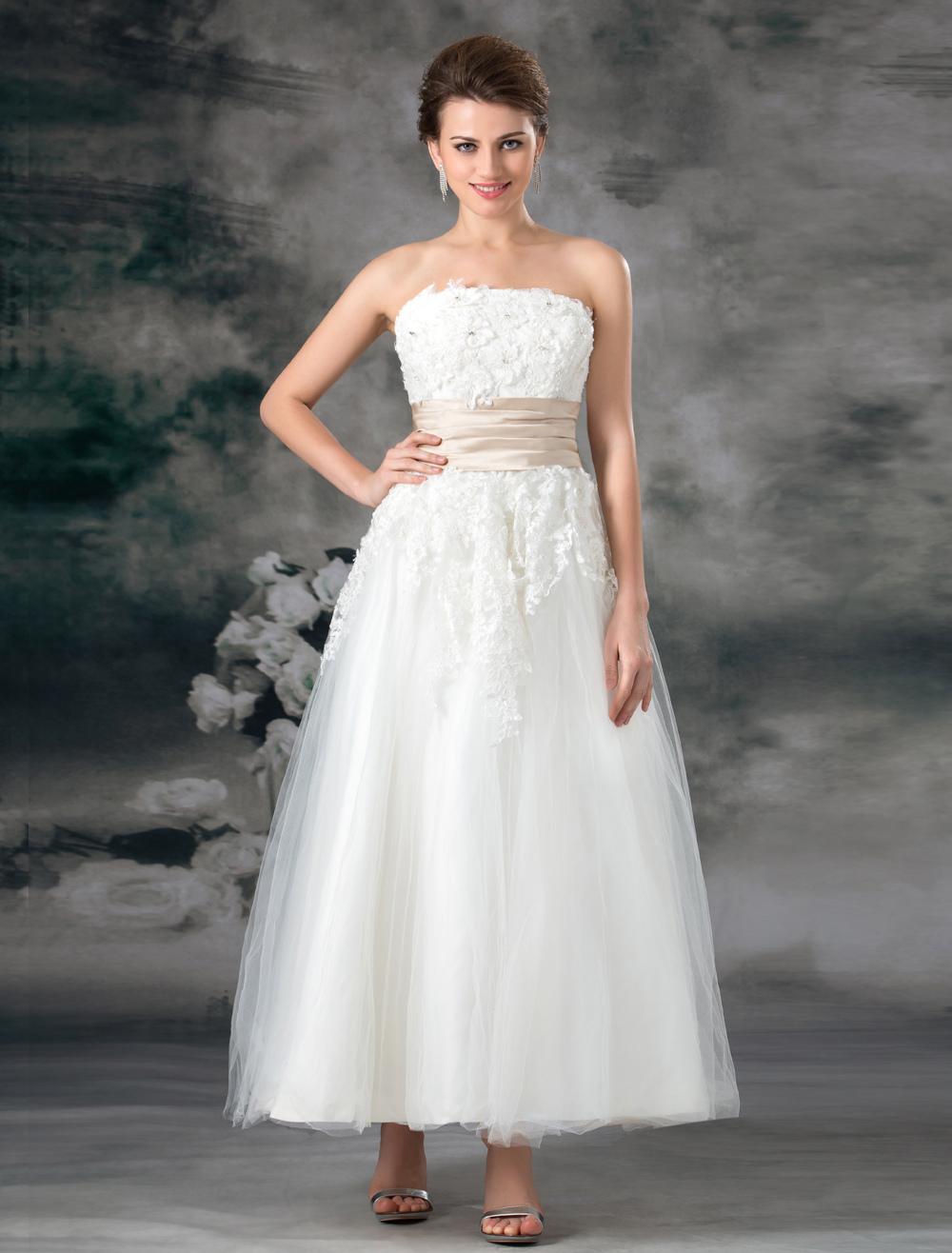 38ecdc74dea8 ... Abito da sposa bianco tulle senza spalline a-linea alla caviglia -No.8.  12. -50%. colore Bianco
