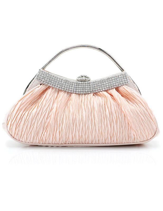 Pink Rhinestone Glitter Satin Clutch Bag