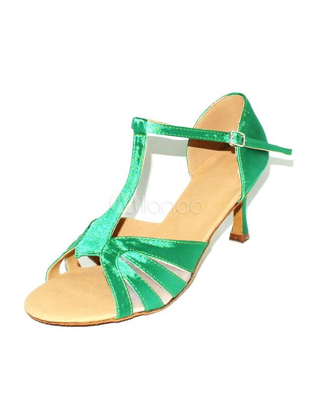 purchase cheap 42e5a 9b0d7 Beliebte sonderanfertigte Latein Schuhe aus Satin mit T-Bändern in Grün