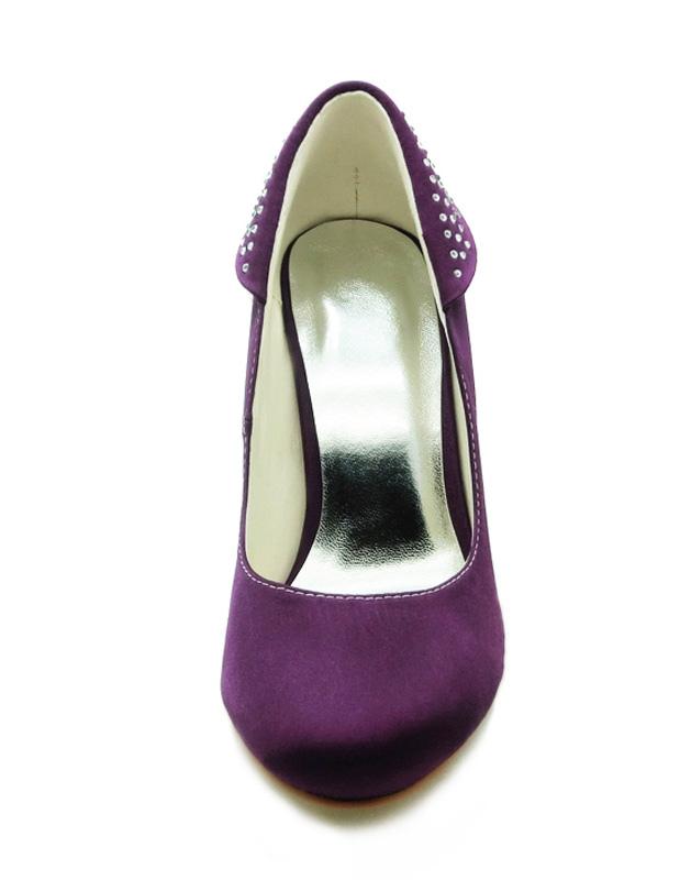 ... Chaussures de mariée en satin violet clouté -No.3 ...