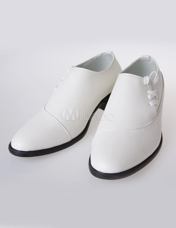 blanco formal indicado zapatos de boda de cuero para el novio