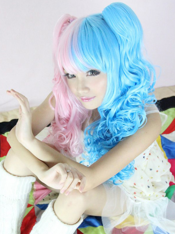 Buy Blue Pink Split Color Rayon Long Curly Lolita Wig for $44.79 in Milanoo store