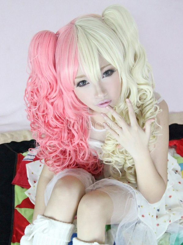 Buy Yellow Pink Split Color Rayon Beautiful Lolita Wig for $44.79 in Milanoo store