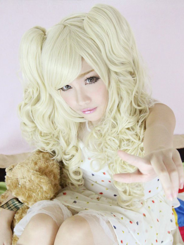 Sweet Yellow Rayon Beautiful Long Curly Lolita Wig