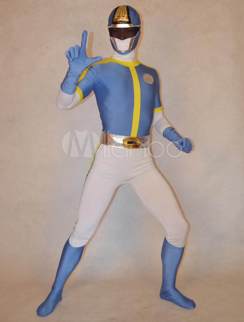 Halloween Handsome Unisex Super Sentai Series Lycra Spandex Cool Multicolor Zentai Suits Halloween