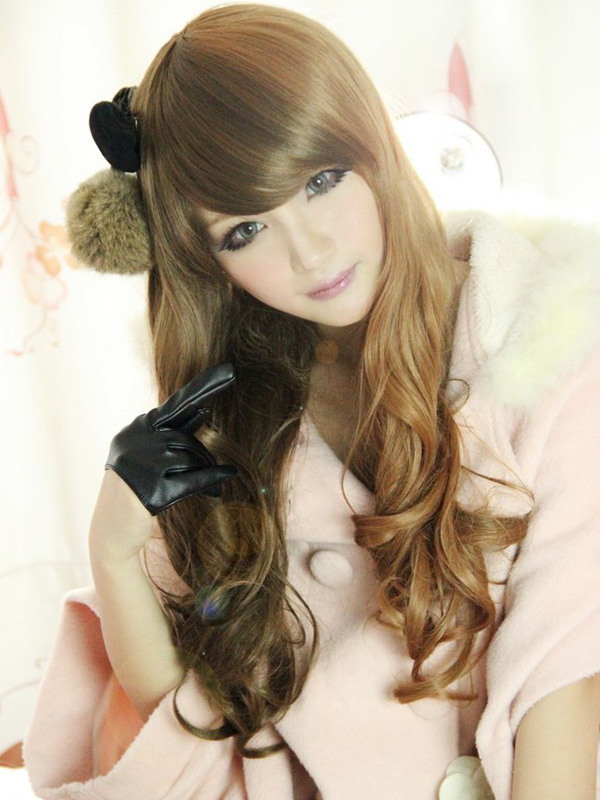 Buy Natural Brown Rayon Long Curly Lolita Wig for $32.19 in Milanoo store