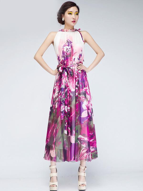 best service 86478 dd7dc Vestito lungo colorato stampato floreale in chiffon a pieghe