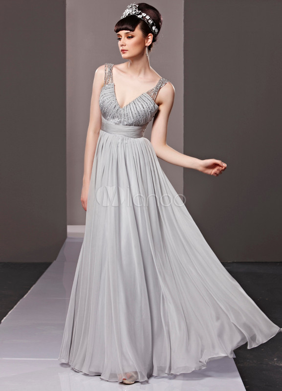 Vestiti Cerimonia Argento.Vestito Da Cerimonia Elegante Argento In Chiffon Con Schiena