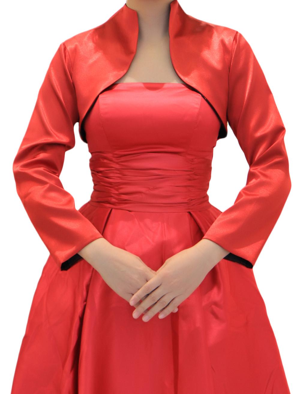 Bolero Rouge Mariage en ce qui concerne rouge satin mariage nuptiale châle ouvert avant mariage veste