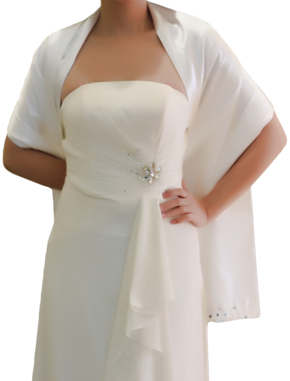 White Chic Satin Bridal Wedding Shawl