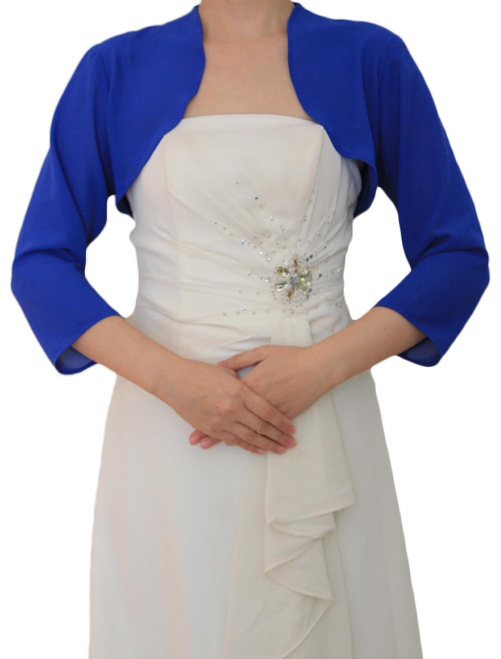 wholesale dealer dda5f a785f Coprispalle per matrimonio blu in chiffon
