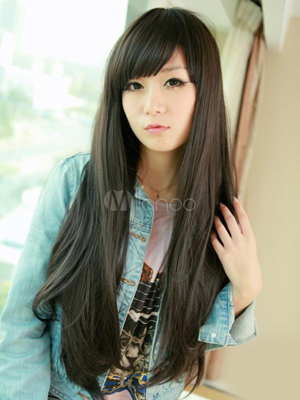 Perruque synthétique femme, brune lisse et