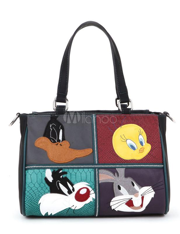 1f08de07271 Personajes de dibujos animados de Disney negro dulce impresión PU bolso de  mano de cuero para ...