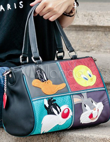 f7b74c75899 ... Personajes de dibujos animados de Disney negro dulce impresión PU bolso  de mano de cuero para ...