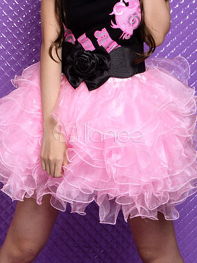 Pink Multi-layered Voile Skirt