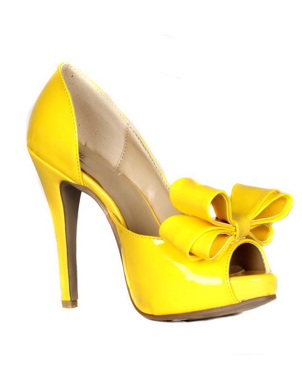 65f7761731 Scarpe con la punta aperta sexy gialle con tacco da 12cm da ballo con fiocco