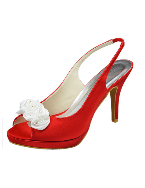 Sweet Red Silk And Satin Beading Slingback Shoes For Bride