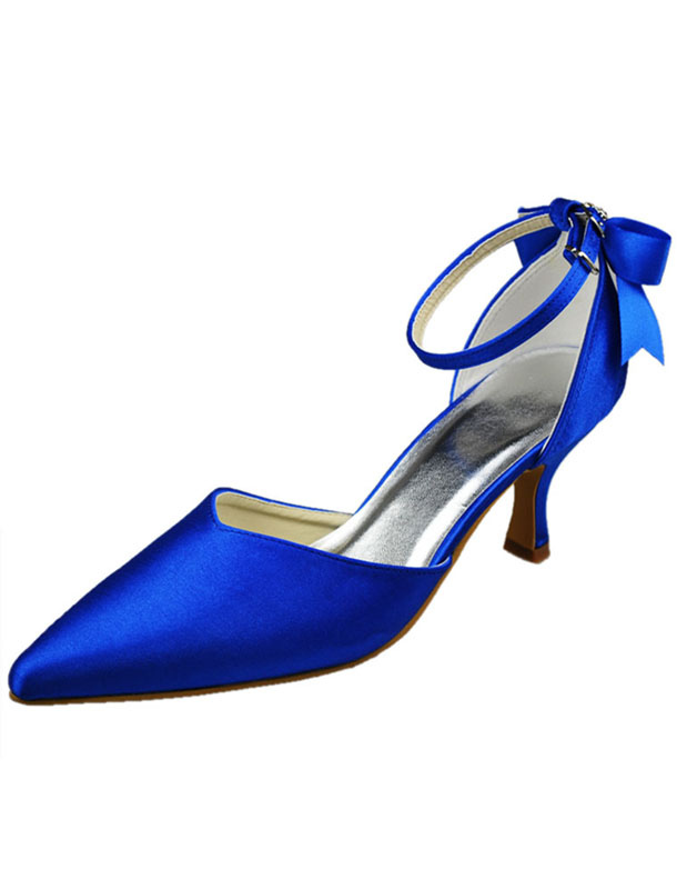 Elegant Blue Silk And Satin Bow Kitten Heel Shoes For Bride