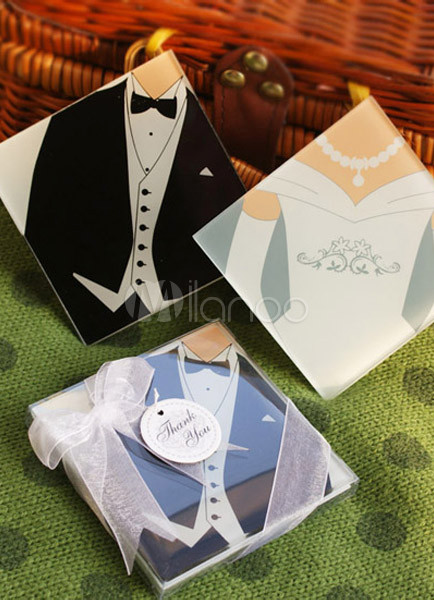 Wedding Favors - Bride and Groom Coasters (2 Piece Set)