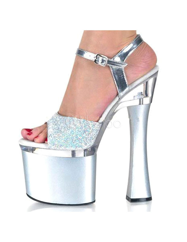 Exotic Silver Sequin Glitter PU Leather Super High Heel Sexy Sandals