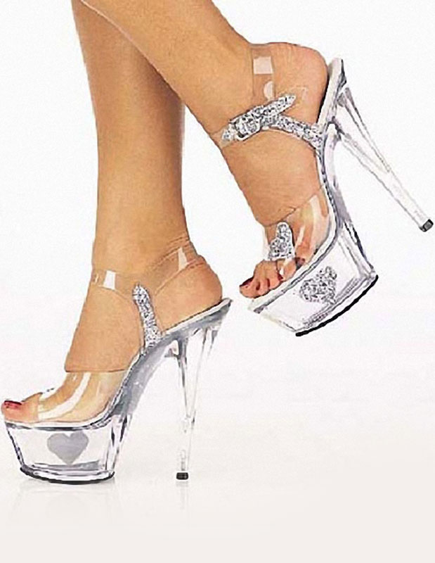 Exotic Spike Heel Plastic Sexy Sandals For Woman