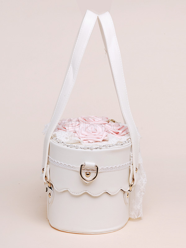 Sweet White Pu Leather Flowers Bow Decorated Lolita Bag