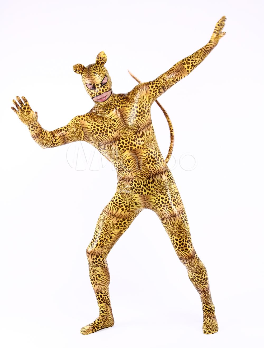Halloween Multi Color Unisex Tiger Print Shiny Metalic Sweet Lycra Animal Zentai Suits Halloween