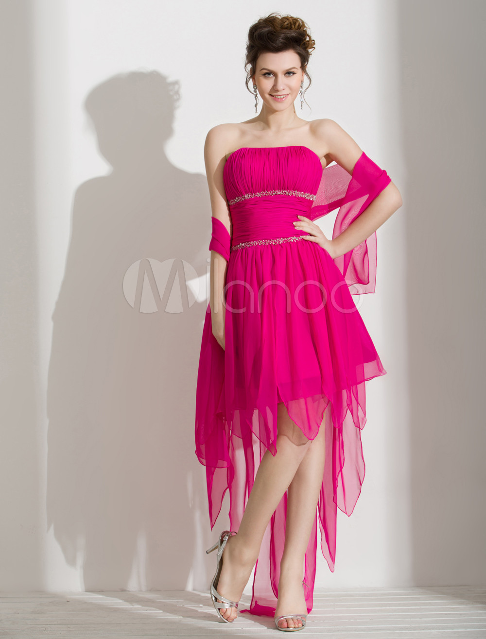 Vestido de fiesta de gasa sin tirantes de línea A - Milanoo.com